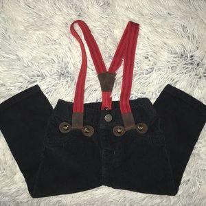 Black suede like pants with suspenders